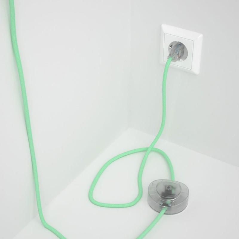 Ledningssæt med fodkontakt, RC34 Mælk og Mint bomuld 3 m. Vælg farve på kontakt og stik.