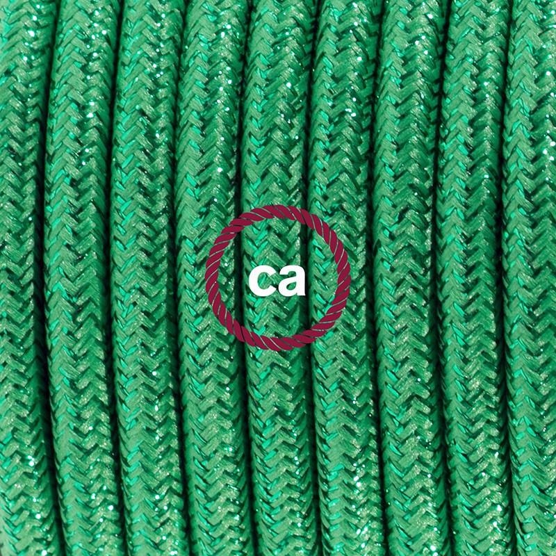 Ledningssæt med fodkontakt, RL06 Glinsende Grøn viskose 3 m. Vælg farve på kontakt og stik.