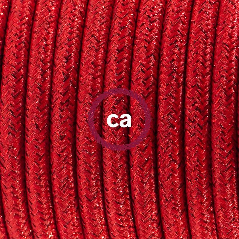 Ledningssæt med fodkontakt, RL09 Glinsende Rød viskose 3 m. Vælg farve på kontakt og stik.