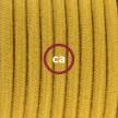 Ledningssæt med fodkontakt, RC31 Gylden Honning bomuld 3 m. Vælg farve på kontakt og stik.
