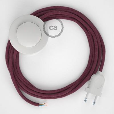 Ledningssæt med fodkontakt, RC32 Bordeaux bomuld 3 m. Vælg farve på kontakt og stik.