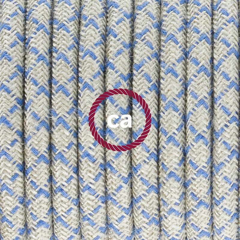 Ledningssæt med fodkontakt, RD65 Blå Steward Diamond Bomuld og Naturligt hør 3 m. Vælg farve på kontakt og stik.