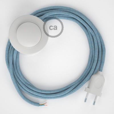 Ledningssæt med fodkontakt, RD75 Blå Steward ZigZag Bomuld og Naturligt hør 3 m. Vælg farve på kontakt og stik.