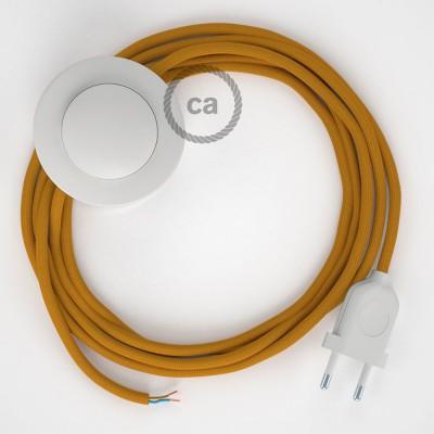 Ledningssæt med fodkontakt, RM25 Sennep viskose 3 m. Vælg farve på kontakt og stik.