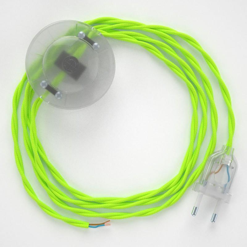 Ledningssæt med fodkontakt, TF10 Neongul viskose 3 m. Vælg farve på kontakt og stik.
