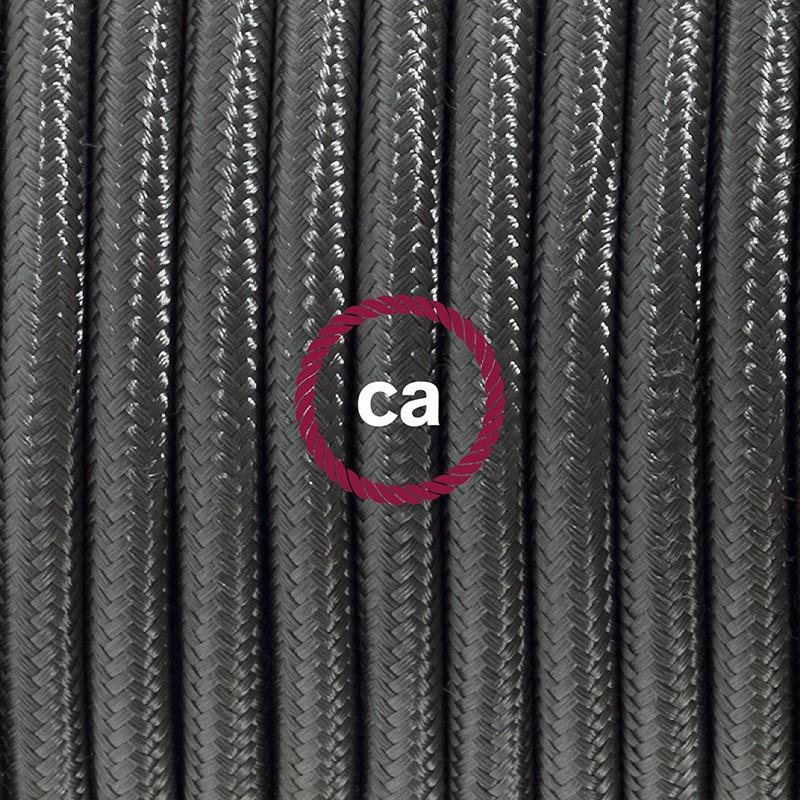 Ledningssæt med fodkontakt, RM26 Mørkegrå viskose 3 m. Vælg farve på kontakt og stik.