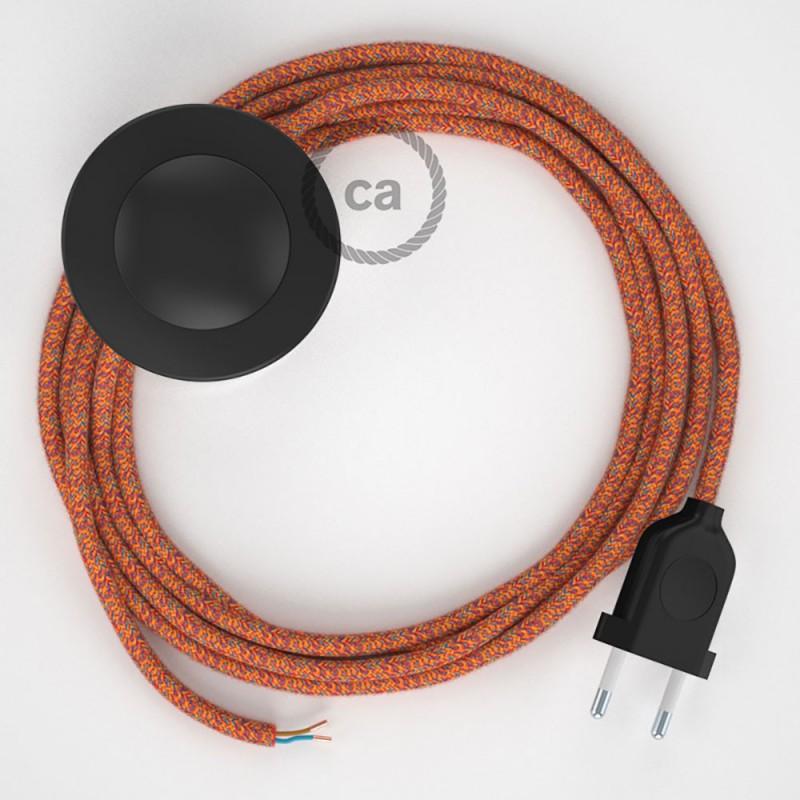 Ledningssæt med fodkontakt, RX07 Indian Summer bomuld 3 m. Vælg farve på kontakt og stik.