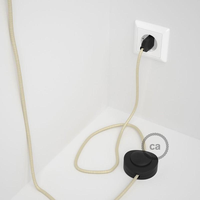 Ledningssæt med fodkontakt, RM00 Elfenben viskose 3 m. Vælg farve på kontakt og stik.