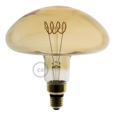 XXL LED Gylden Pære - Svampeformet horisontal spiral Filament - 5W E27 Dæmpbar 2000K